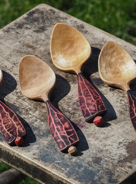 lava spoons – milk paint handles