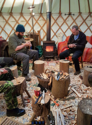 Day's Cottage yurt spoon carving