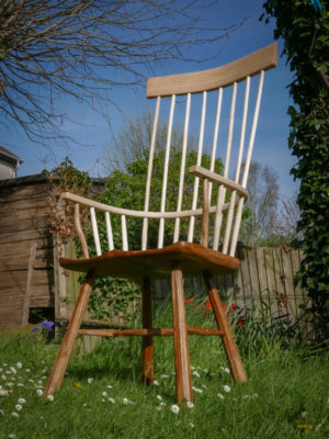 High back Welsh stick chair in elm, ash and oak