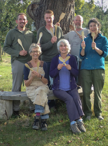 Carvers under the big pear tree