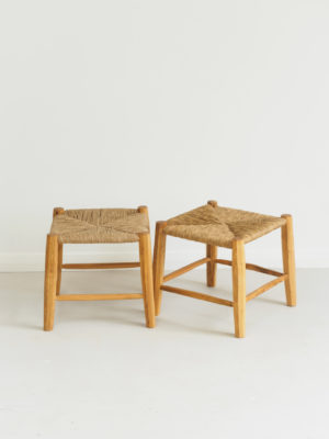 Footstools in cherry and paper rush