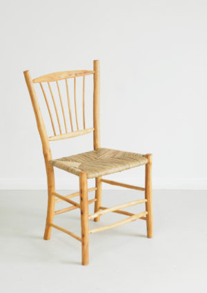 Freeform crab apple sidechair with paper rush seat