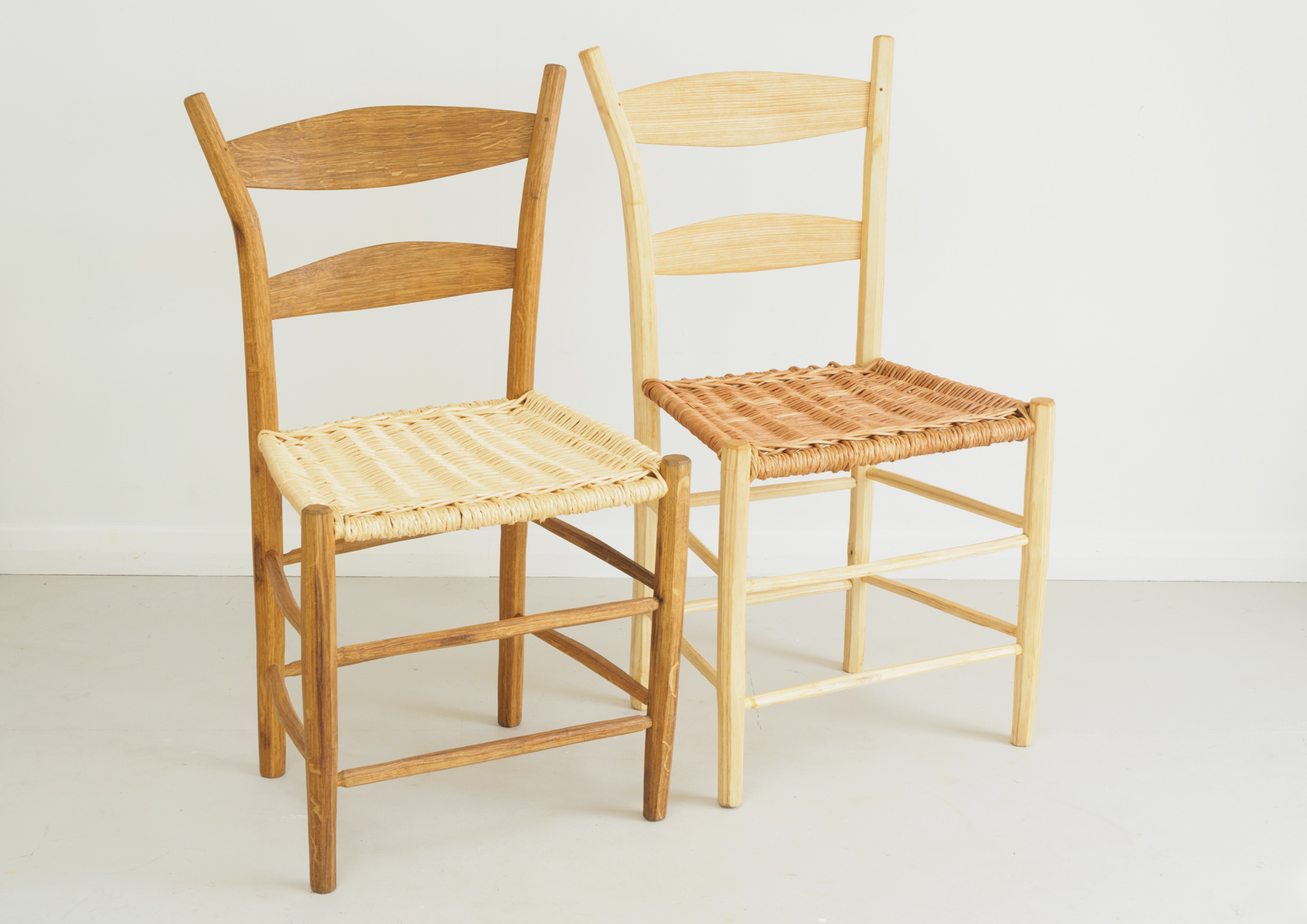 Jenny Alexander side chairs with basketwork seat