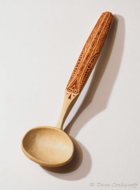 Cawl spoon in sycamore with a chip carved handle