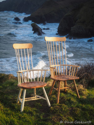 Welsh stick chairs in the wild at Llangrannog